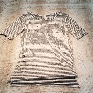 Free People Long Striped Distressed Tee Shirt